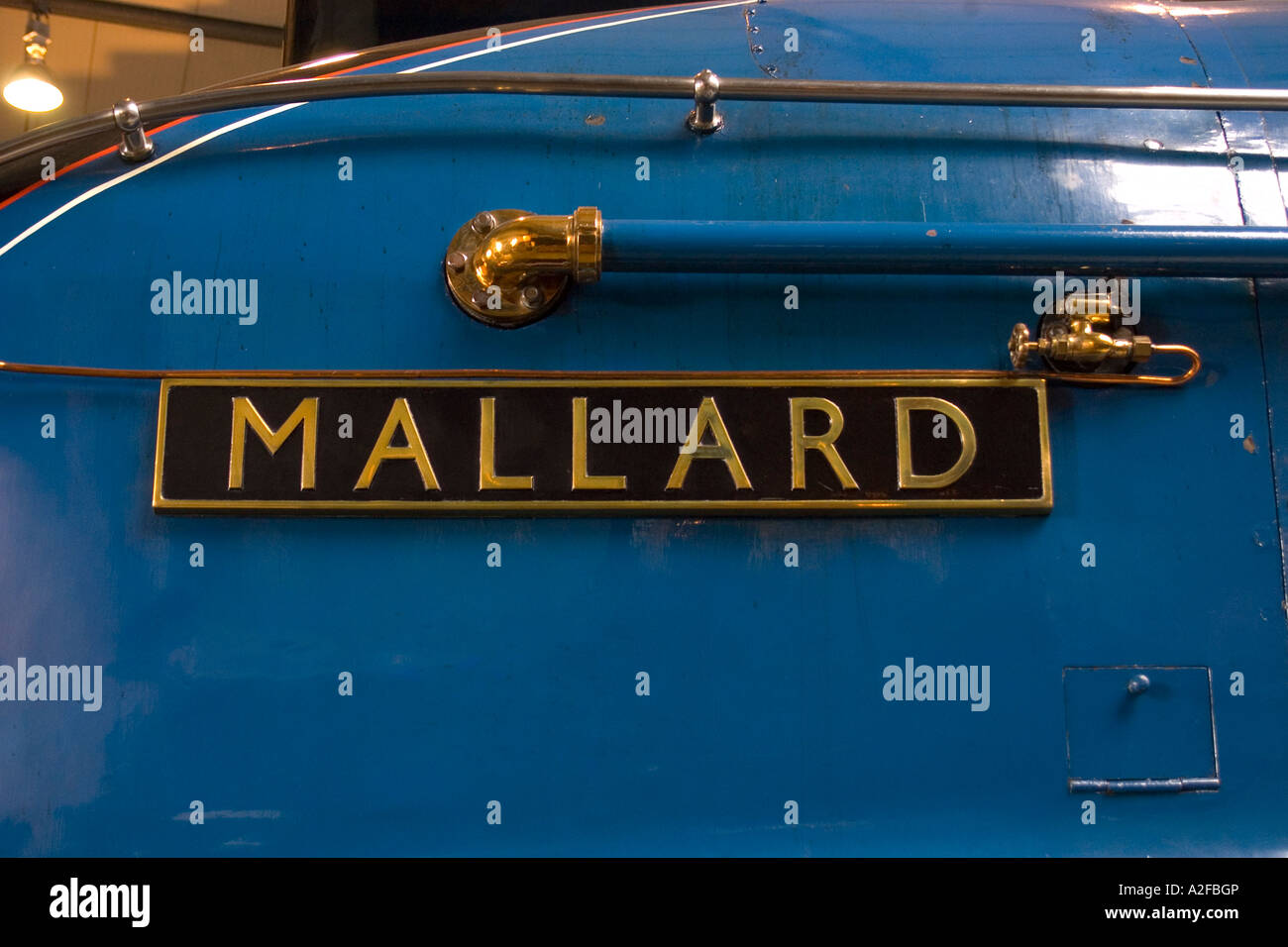 Nameplate of the Mallard National Railway Museum York England - Stock Image