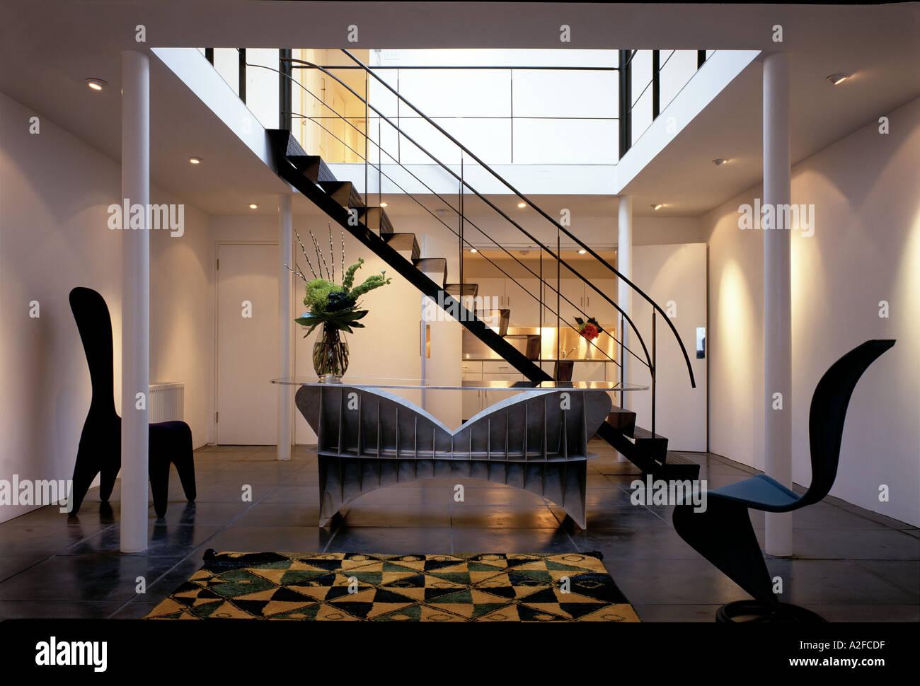 Metal Mezzanine Modern apartment interior with metal staircase mezzanine and stock modern apartment interior with metal staircase mezzanine and designer furniture architect lynn davis architect sisterspd