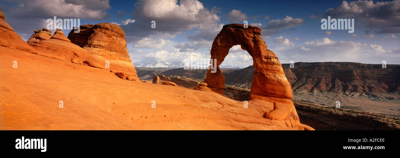 Delicate Arch Arches National Park Utah USA - Stock Image