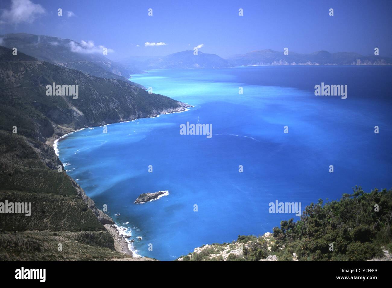 Kefalonia Cephellonia Myrtos Mirtos Beach Greek Ionian Island of Kefalonioa Cephalonia Kefalinia Greece EU European Union Europe - Stock Image