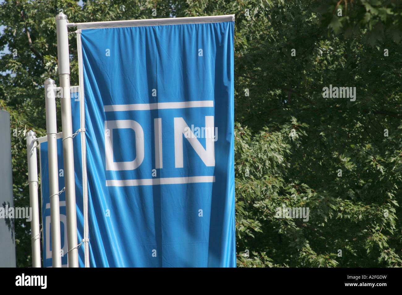 Flags in Front of the German Institut of standardization in Berlin - Stock Image