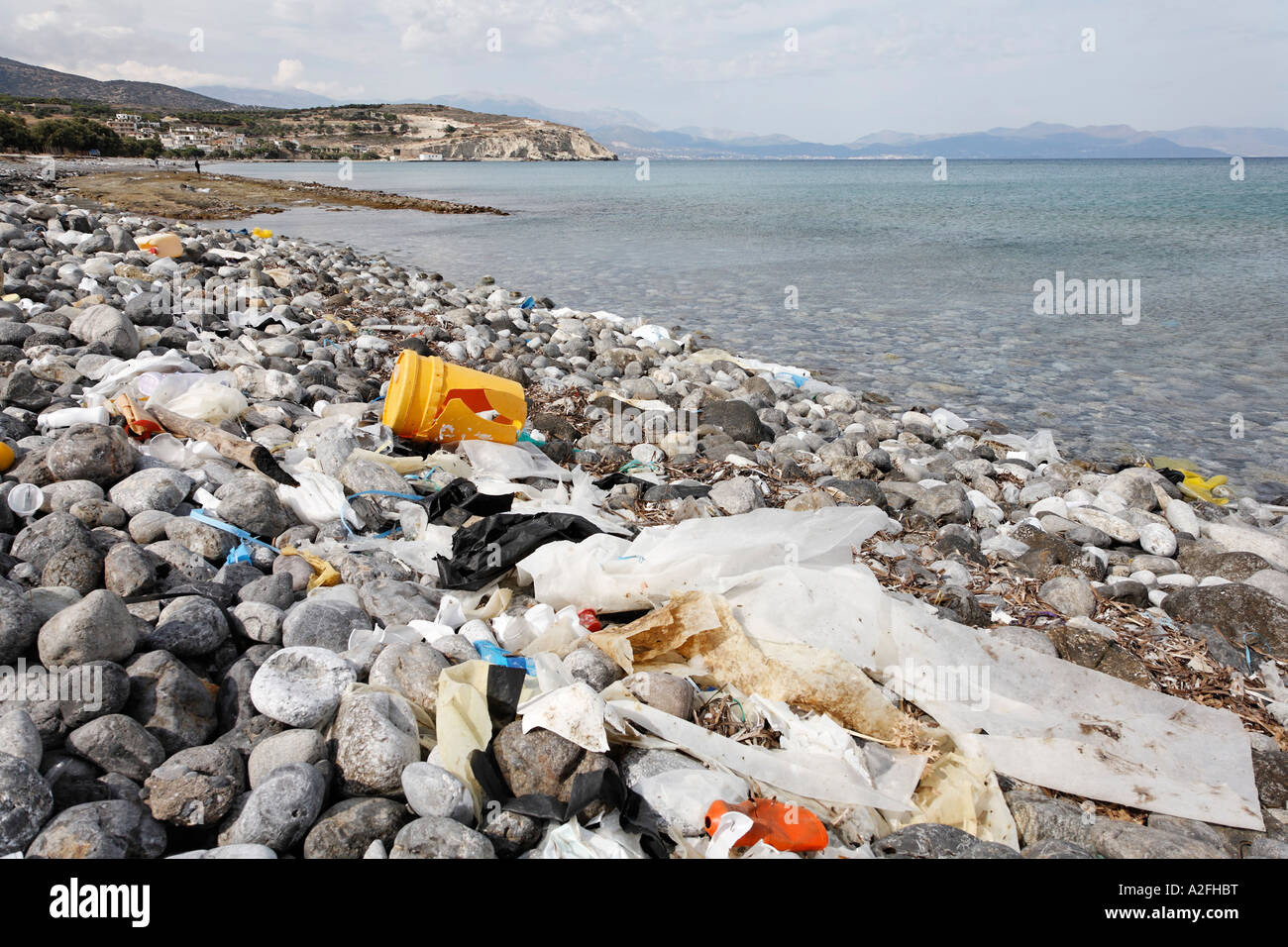 Polluted beach in Pachia Ammos, Gulf of Mirabello (Mirambello), Eastern Crete, Greece - Stock Image
