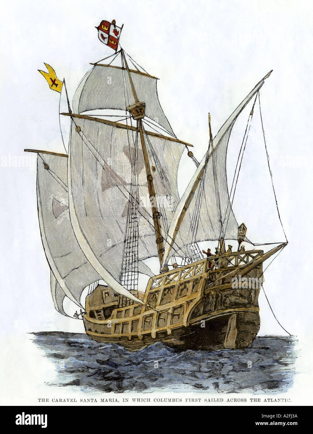 Caravel Santa Maria the flagship of Columbus first voyage which sank off Hispaniola in 1492. Hand-colored woodcut - Stock Image
