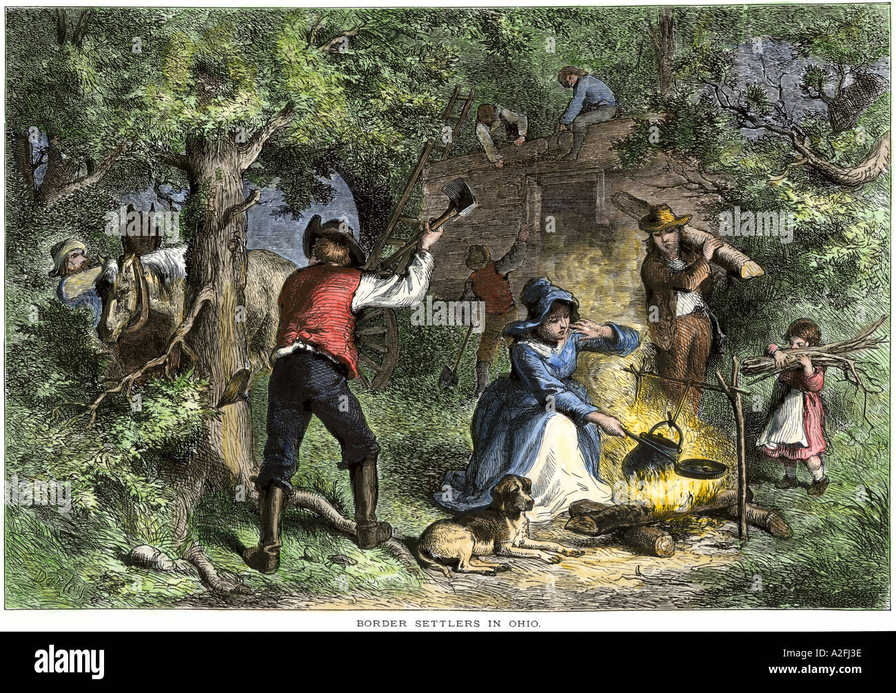 Early settlers in Ohio building a log cabin. Hand-colored woodcut Stock Photo