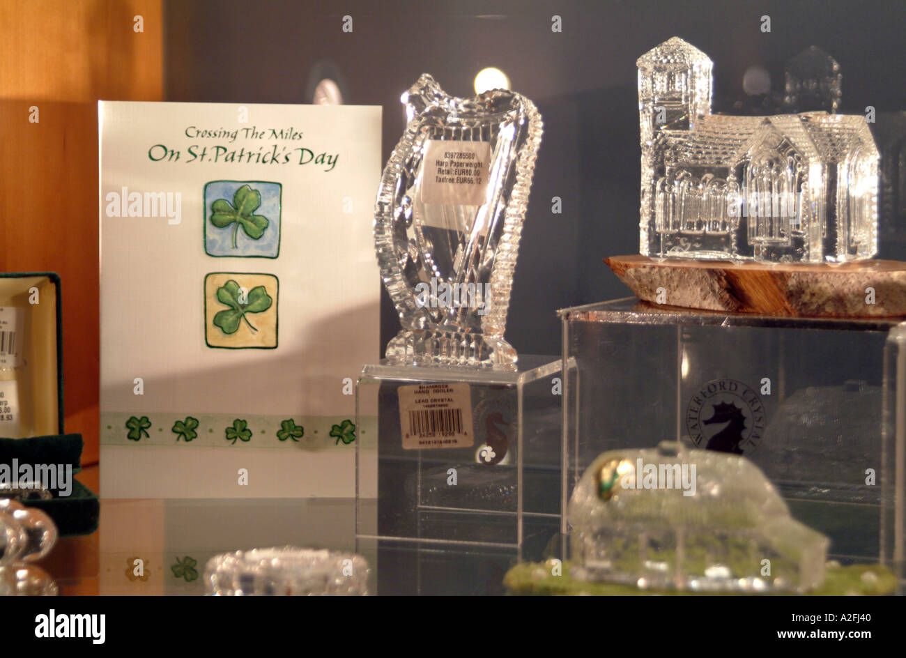 Waterford Crystal factory southern Ireland Eire EU Crystal items for St Patricks Day - Stock Image