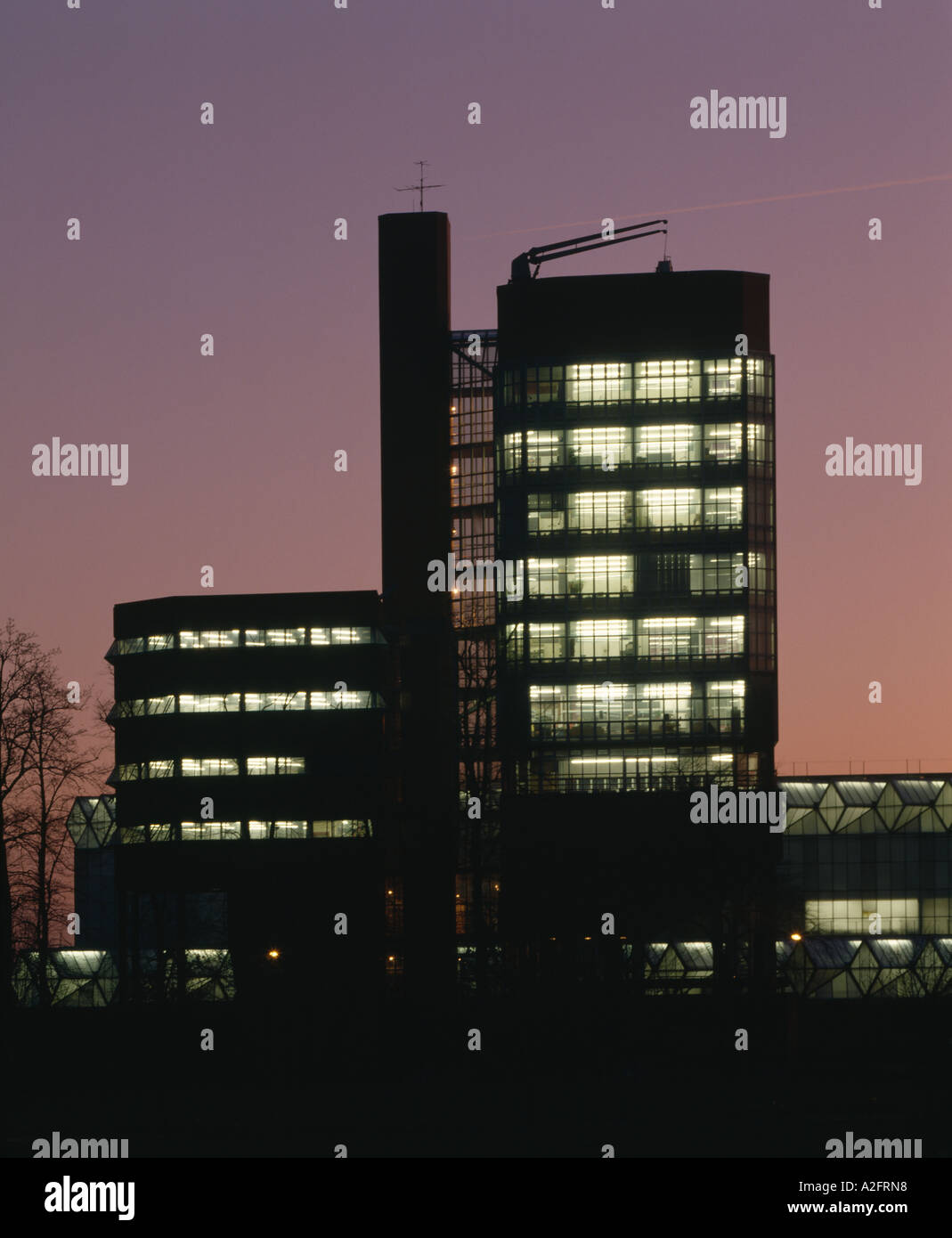 Leicester University Faculty of Engineering, England, 1959 - 1963. Office and Laboratory Tower illuminated at night. Stock Photo
