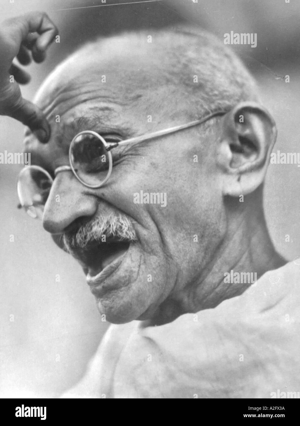 Mahatma Gandhi portrait India August 1944 - Stock Image