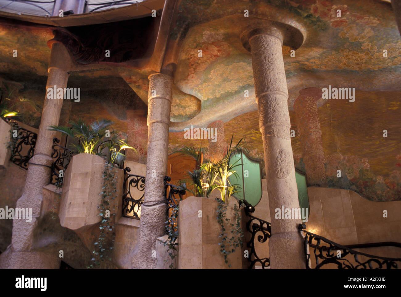 Europe, Spain, Barcelona, interior of Casa Mila by A. Gaudi Stock ...