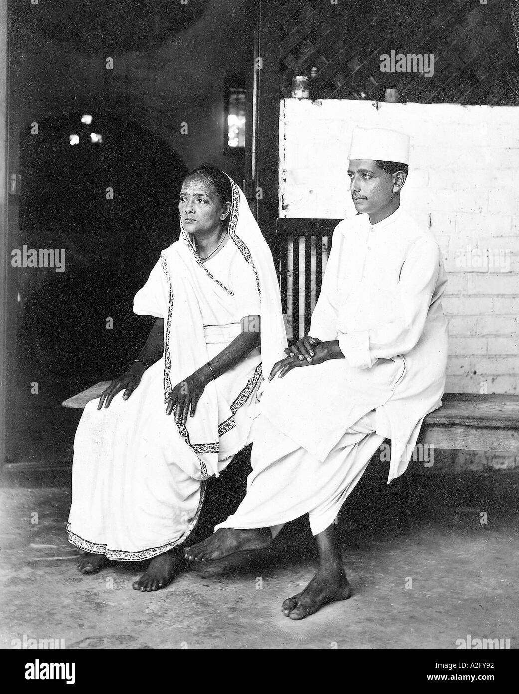 MKG32981 Kasturba Gandhi and her son Ramdas at Sabarmati Ashram Ahmedabad Gujarat India 1920 - Stock Image