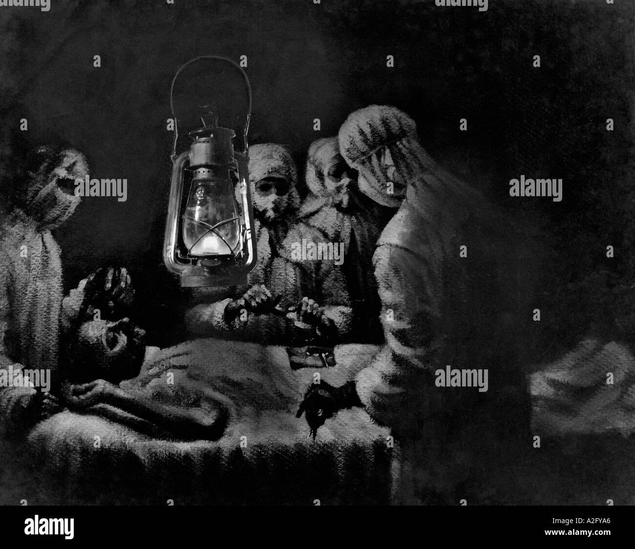 MKG32996 Painting of Gandhis appendicitis operation by kerosene lamp 1924 - Stock Image