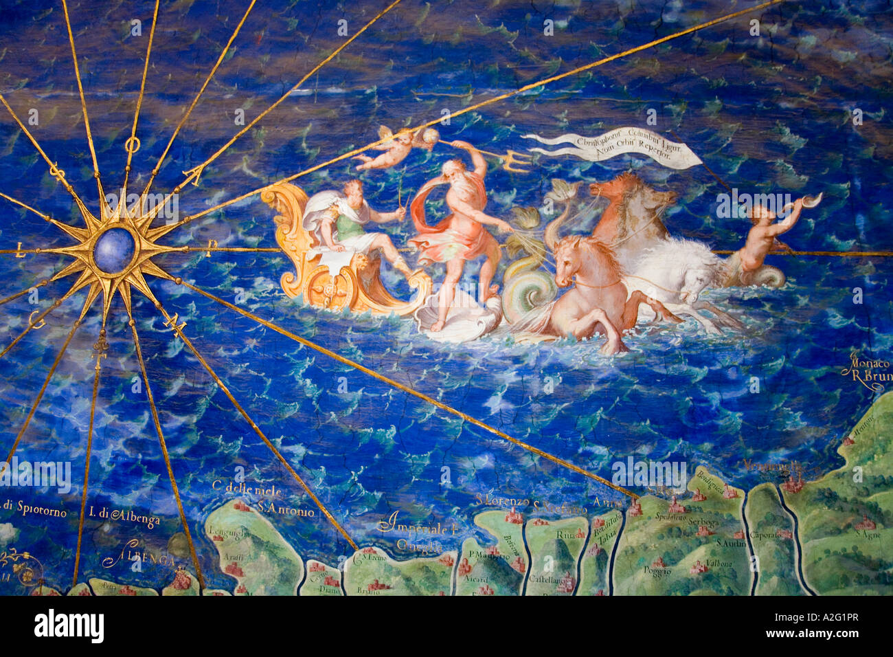 Detail of antique map of Liguria painting in Vatican Museum Room of Maps by Ignazio Danti (1536-1586) The Vatican - Stock Image