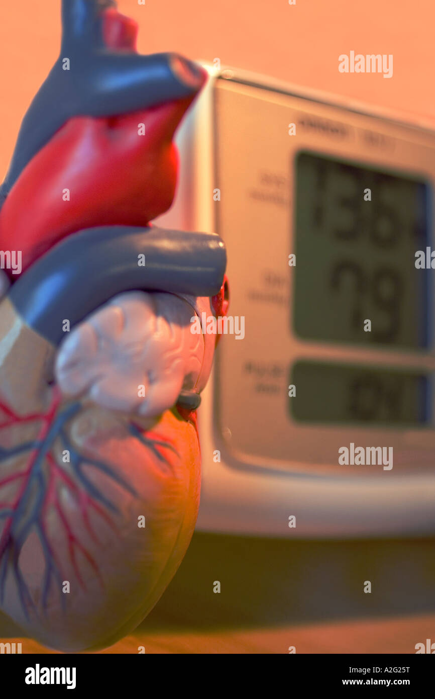 Electronic Sphygmomanometer scale and model of heart  close-up close up closeup medical instrument - Stock Image
