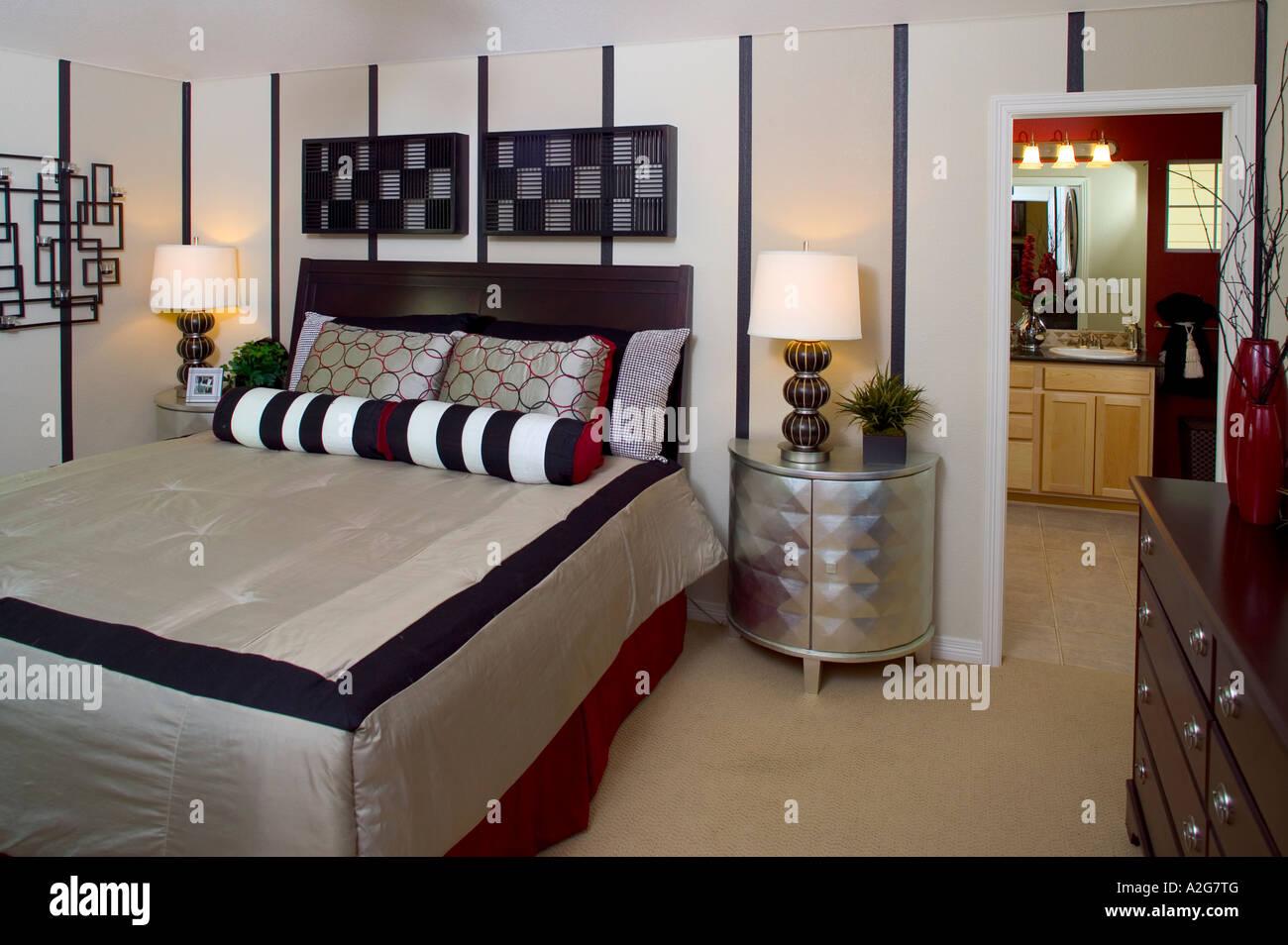 Middle Class Home Interior Master Bedroom Denver Colorado Stock Photo Alamy