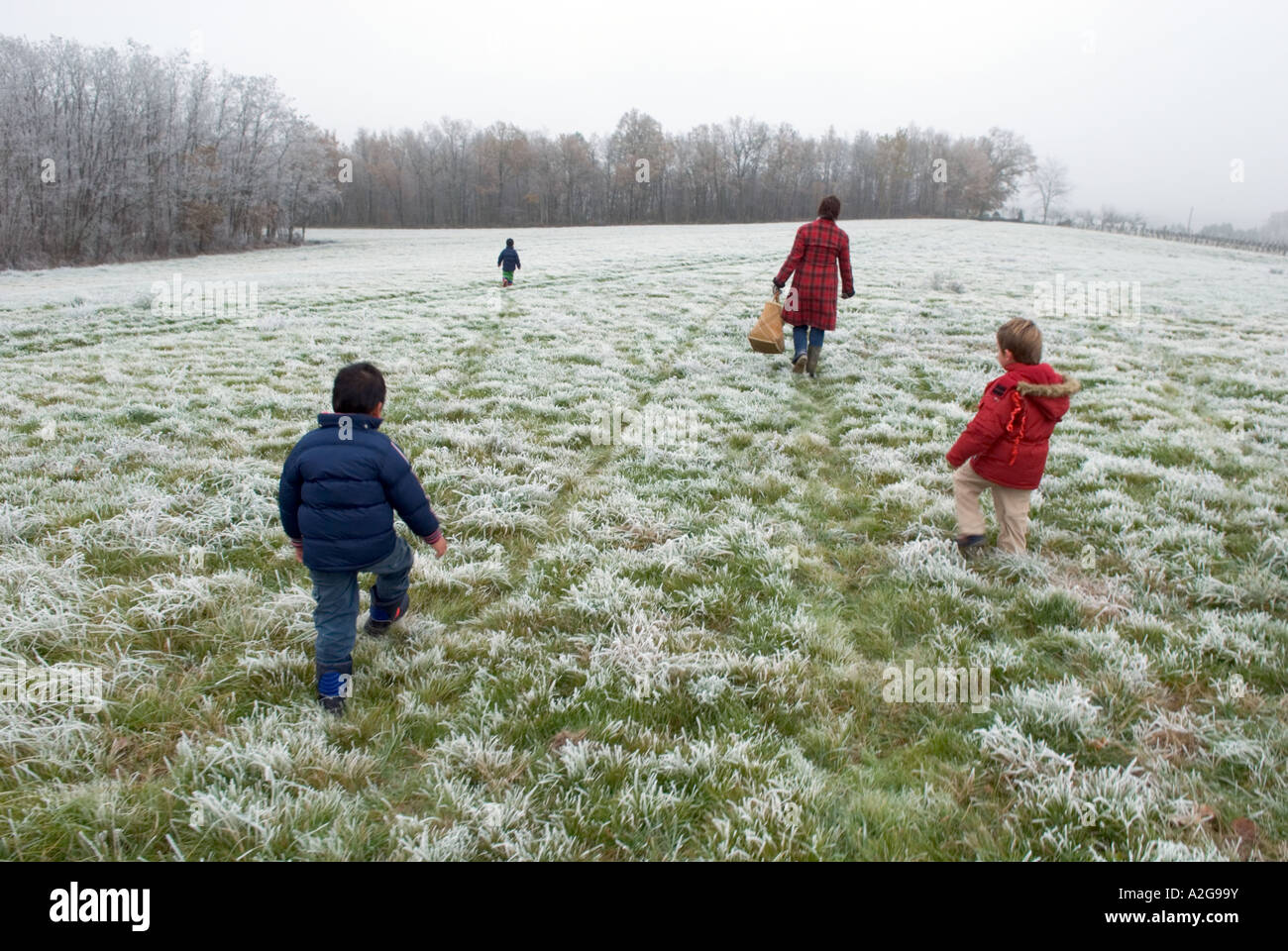 three young boys and their mum walk across a frost covered field away from camera - Stock Image
