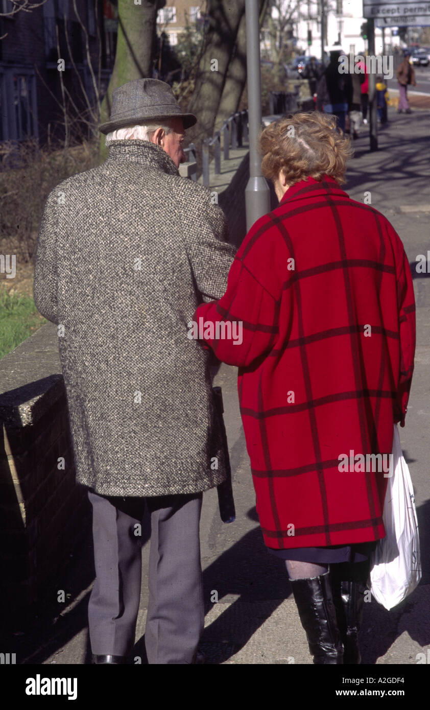 0ld couple in london street - Stock Image