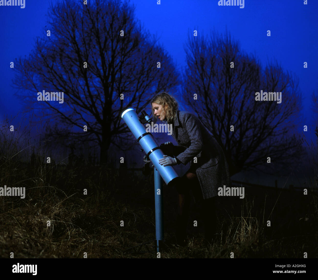 1212826 outdoor park tree trees evening night autumn young woman 25 30 blonde hair curly coat stand telescope look - Stock Image