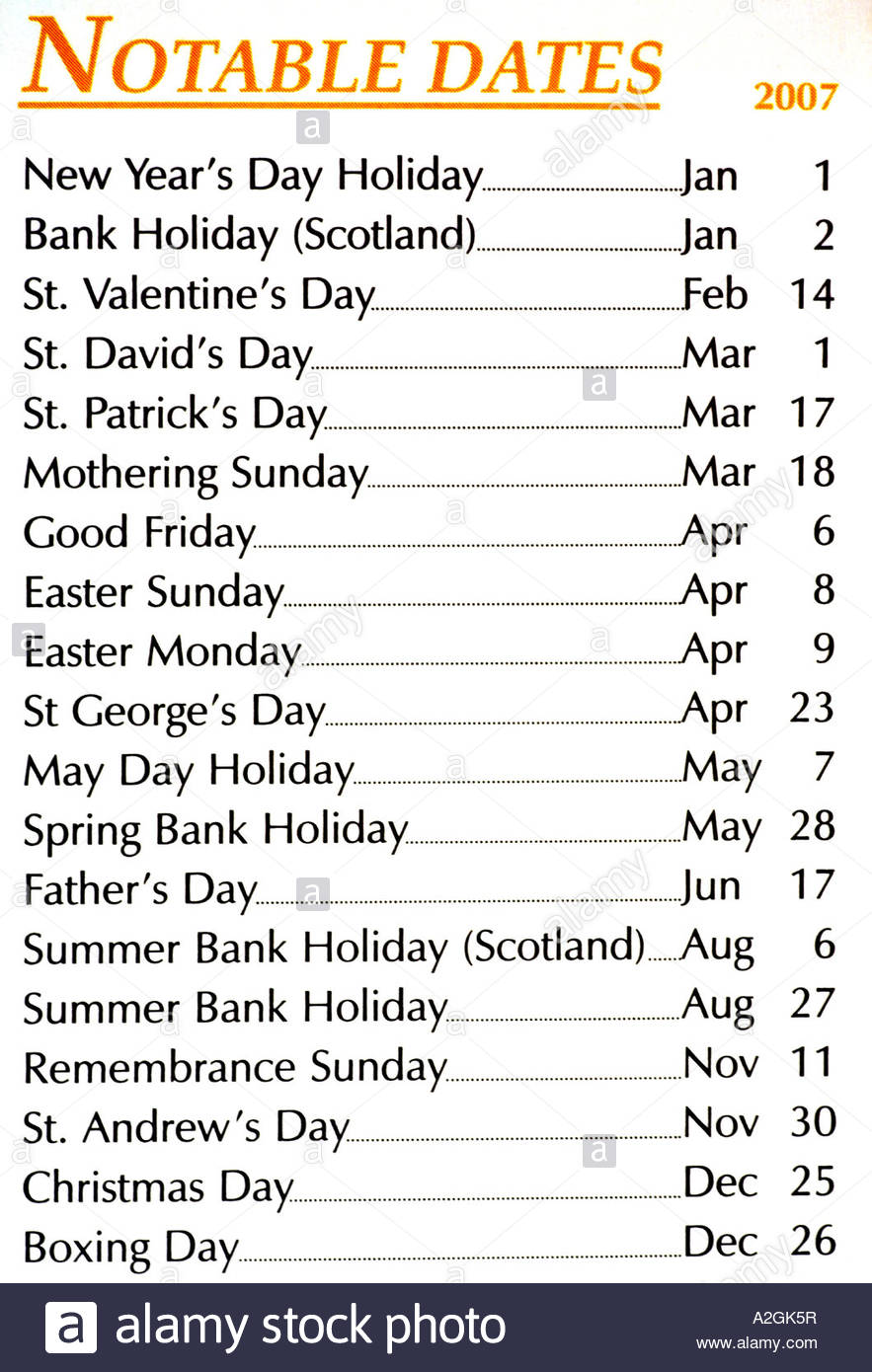 Notable dates 2007 - Stock Image