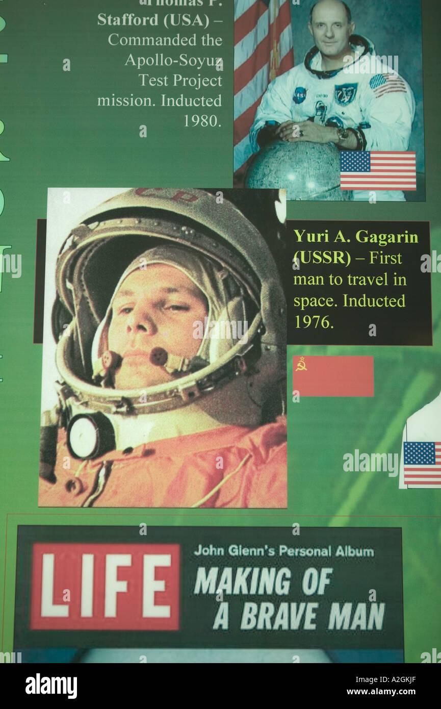 USA, New Mexico, Alamogordo: International Space Hall of Fame Gallery: Russian Cosmonaut Yuri Gagarin - Stock Image