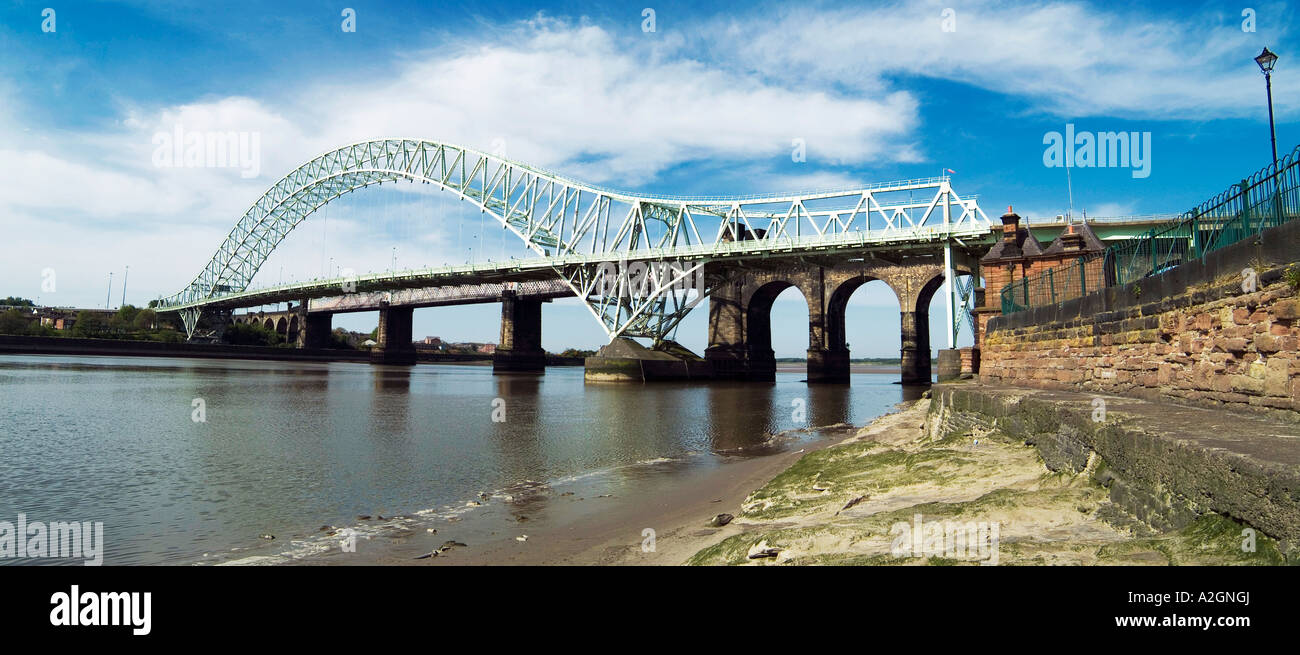Panoramic image of the Runcorn Widnes Bridge at Widnes Cheshire, UK - Stock Image