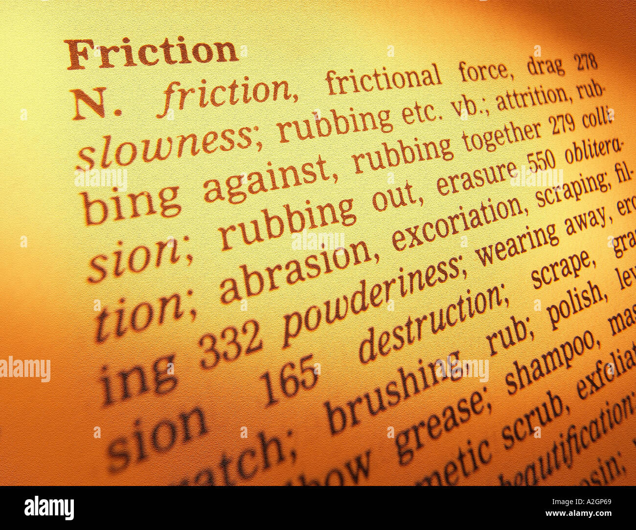THESAURUS PAGE SHOWING DEFINITION OF WORD FRICTION - Stock Image