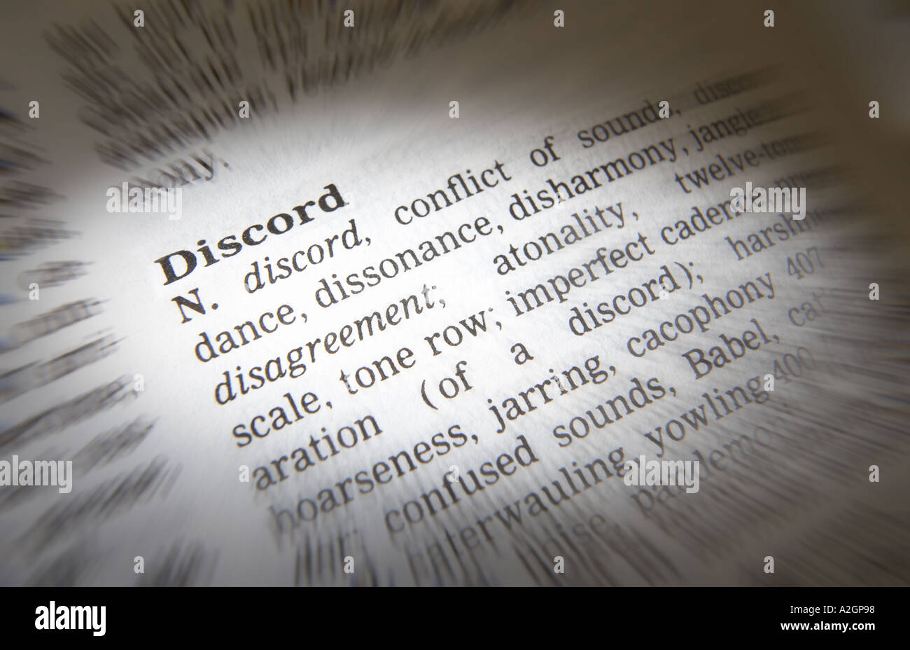 THESAURUS PAGE SHOWING DEFINITION OF WORD DISCORD - Stock Image