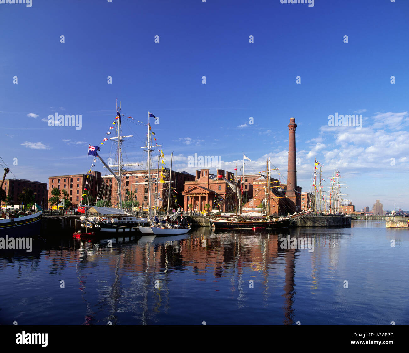 Tall ships in the 1992 tall ships race in Canning dock in Liverpool, Merseyside england uk - Stock Image