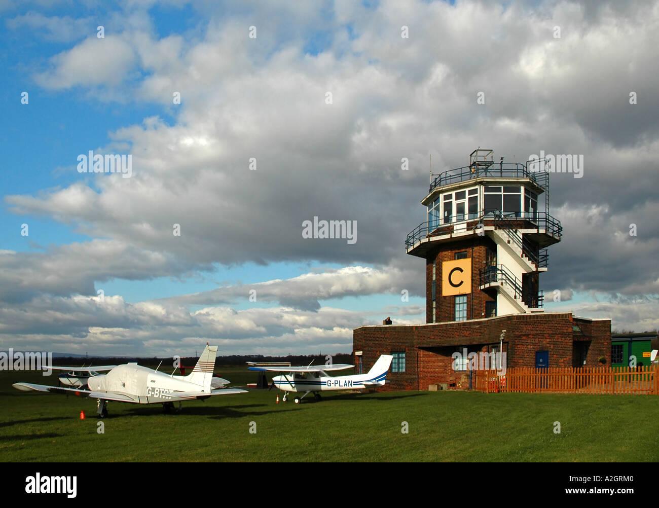 Air Trafffic Control Tower Barton Aerodrome Manchester UK - Stock Image