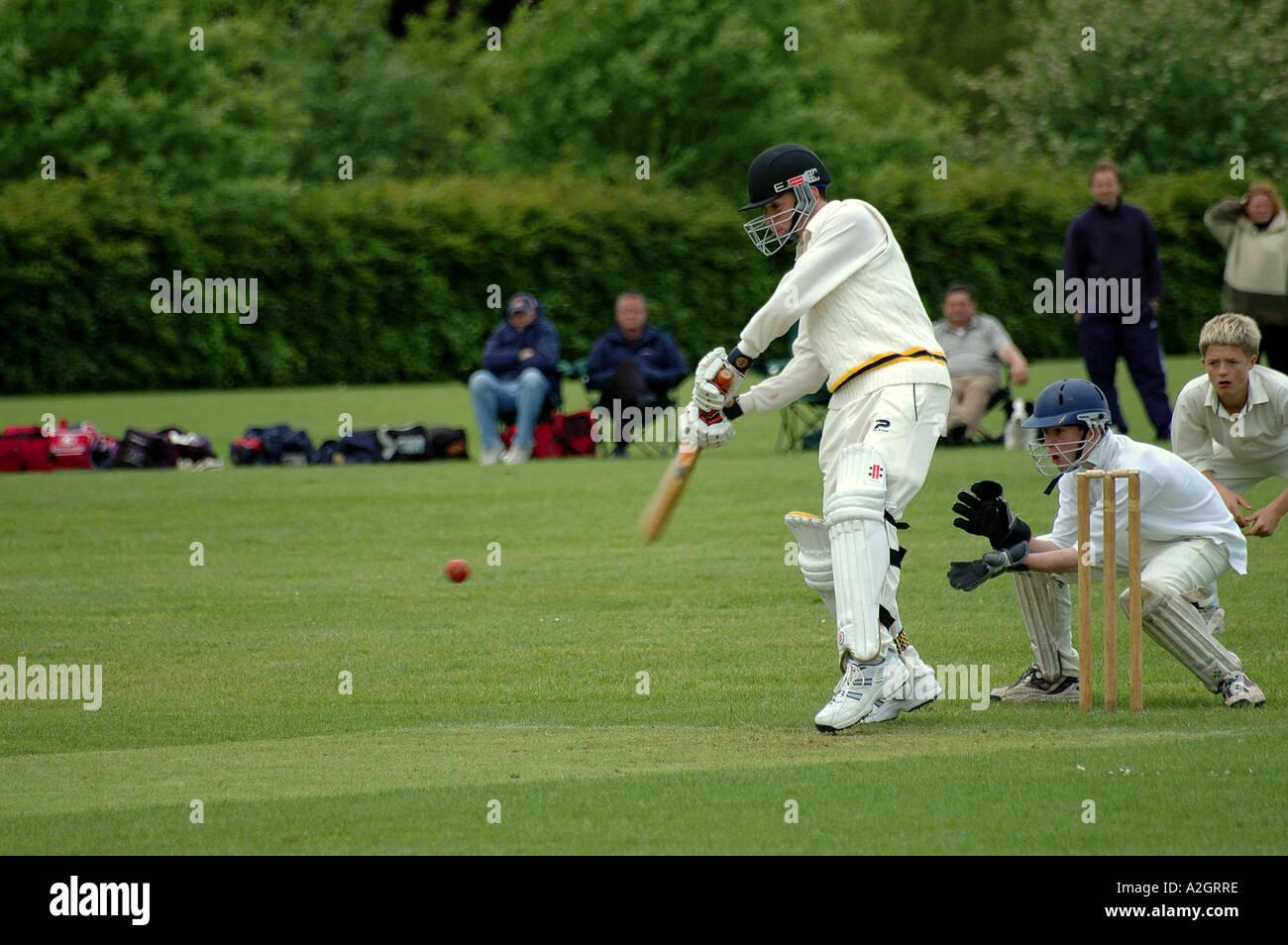 School Boys Cricket Match - Stock Image