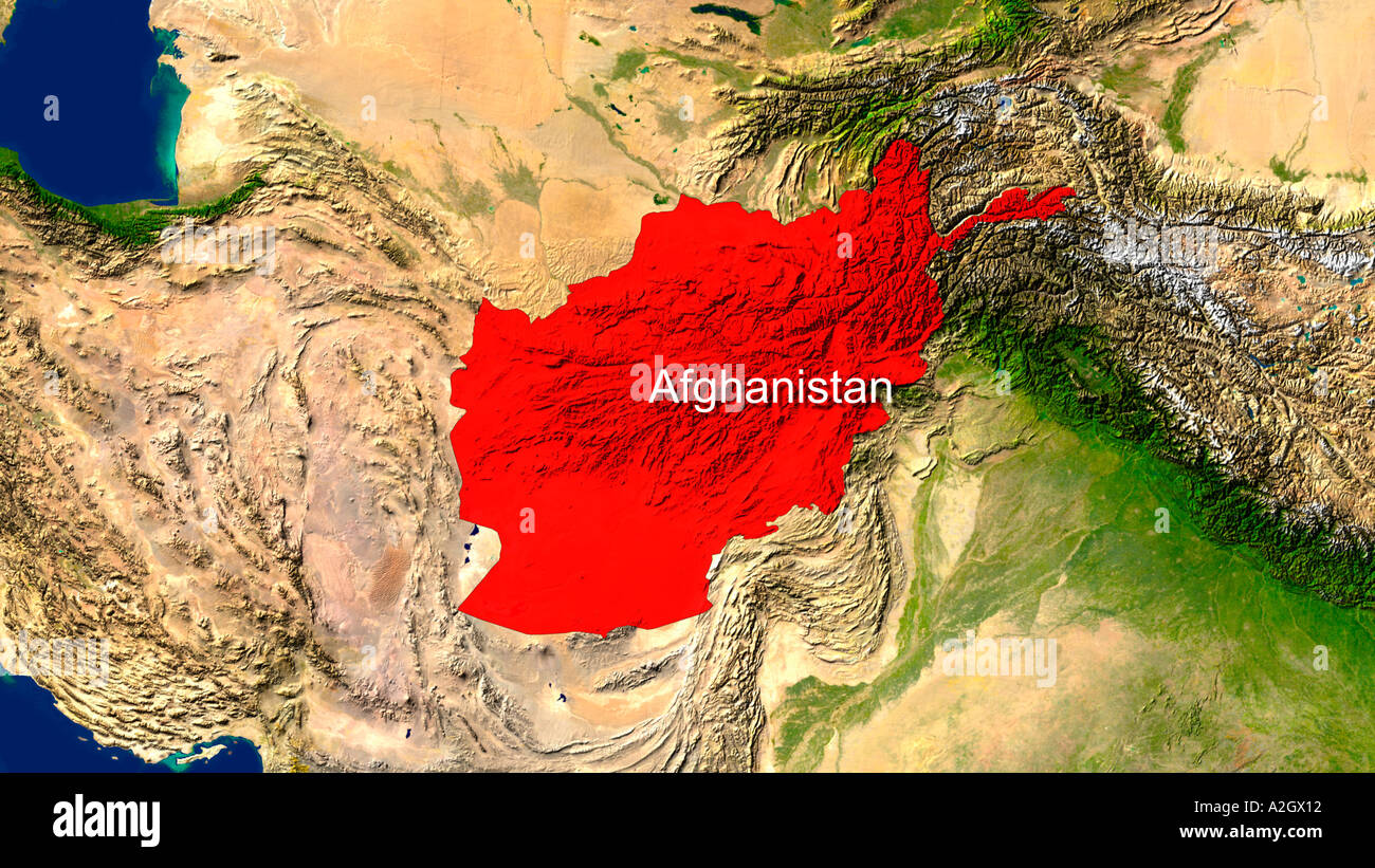 Highlighted Satellite Image Of Afghanistan Stock Photo Alamy