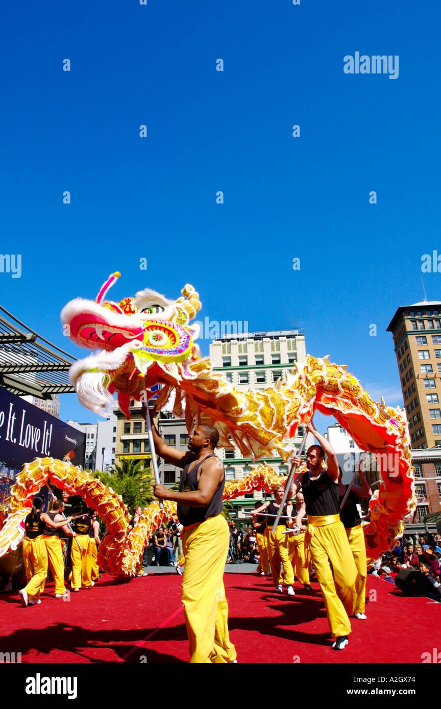 California, San Francisco, Chinese Dragon Dance - Stock Image