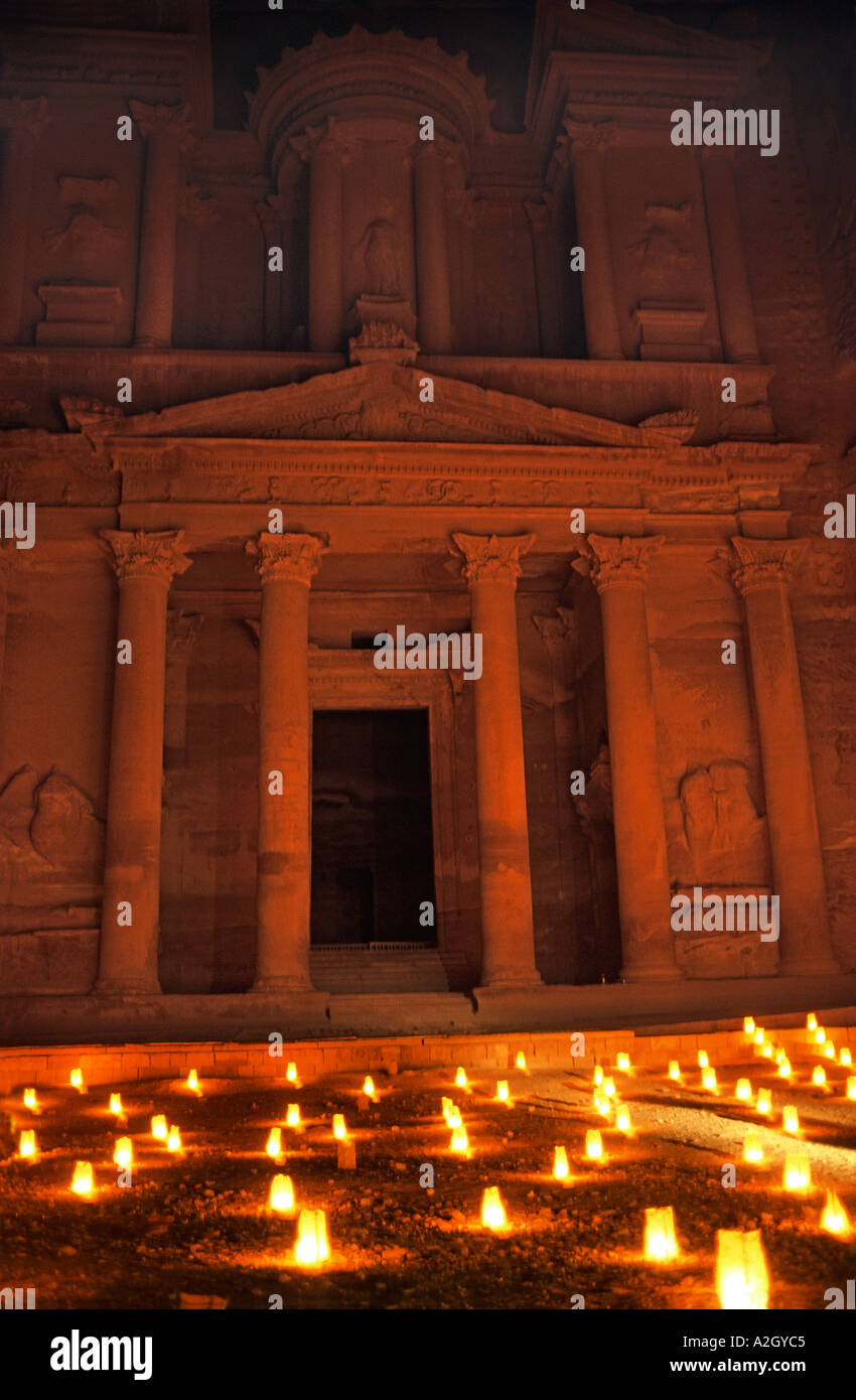 Petra by Candlelight An alluring way to experience Petra s magic The Treasury also known as El Khazneh Jordan - Stock Image