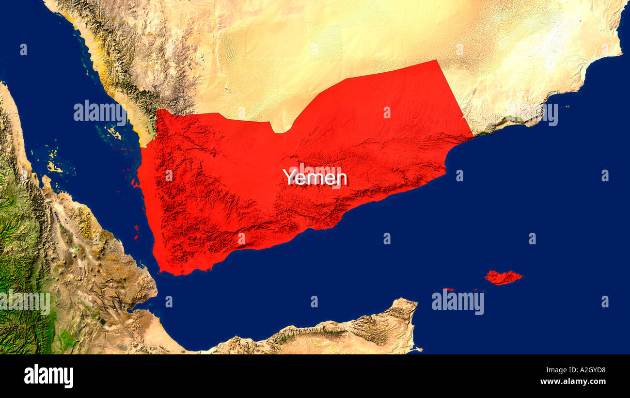 Satellite Image Of Yemen Highlighted Red Stock Photo ... on detailed map of yemen, road map of yemen, outline map of yemen, terrain map of yemen, political map of yemen, physical map of yemen, topographic map of yemen,