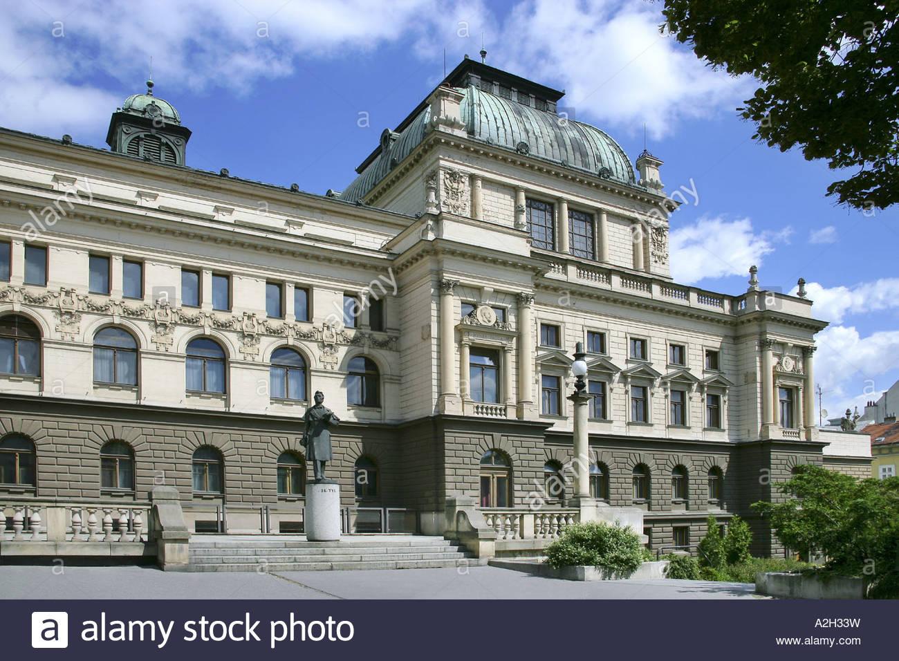 Smetana Gardens Theatre of J K Tyl 1899 1902 A Balsanek Neo Renaissance Plzen CR - Stock Image