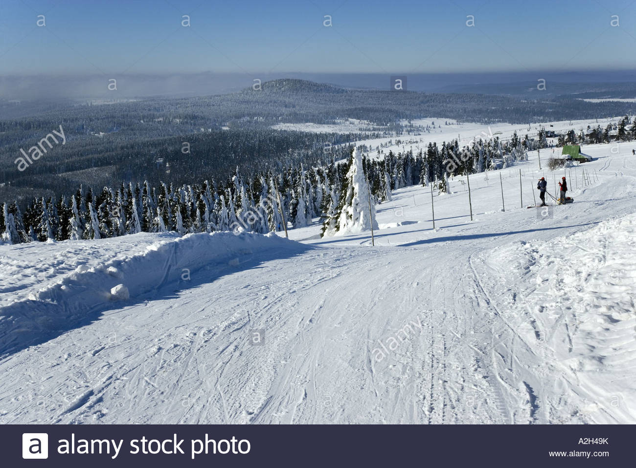 ore mountains skiing artery between klinovec and bozi dar ore stock