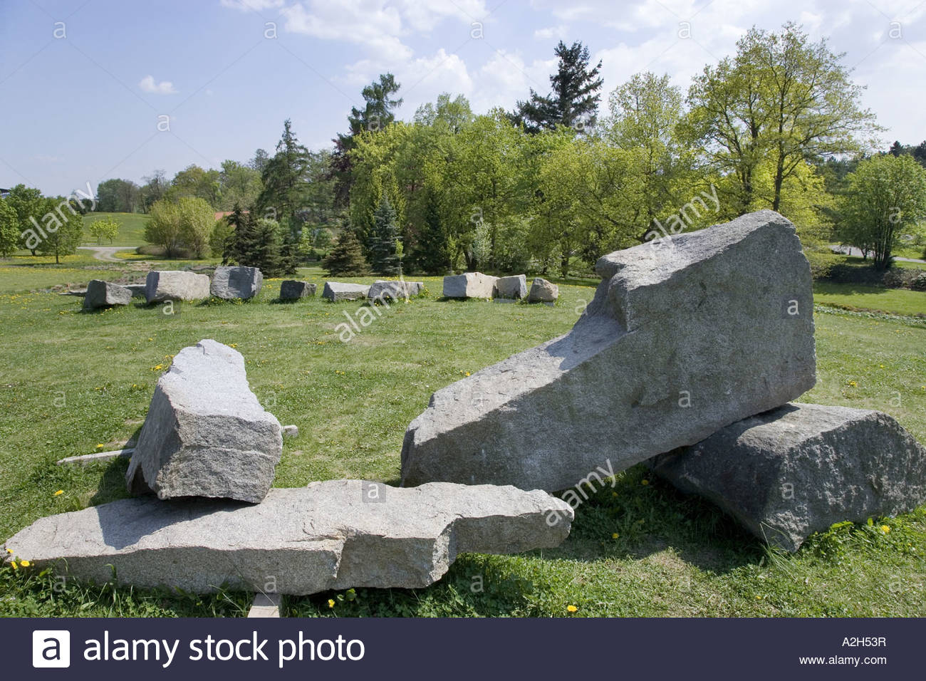 Dendrological and Botanical Gardens Prehistorical Menhirs Pruhonice Prague CR - Stock Image