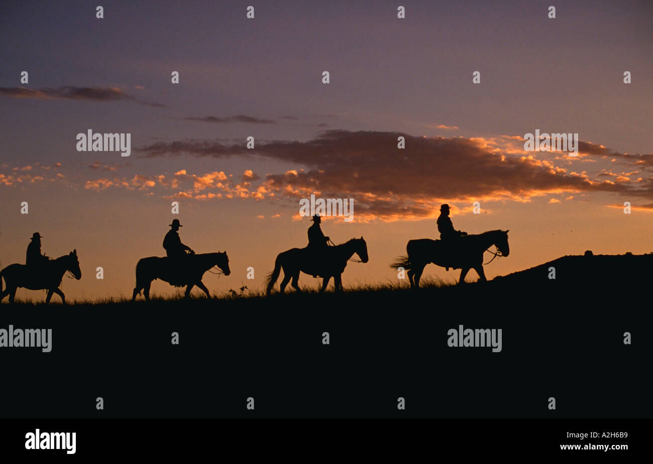 Silhouette of riders and horses at Rock Spring Ranch Bend Oregon - Stock Image