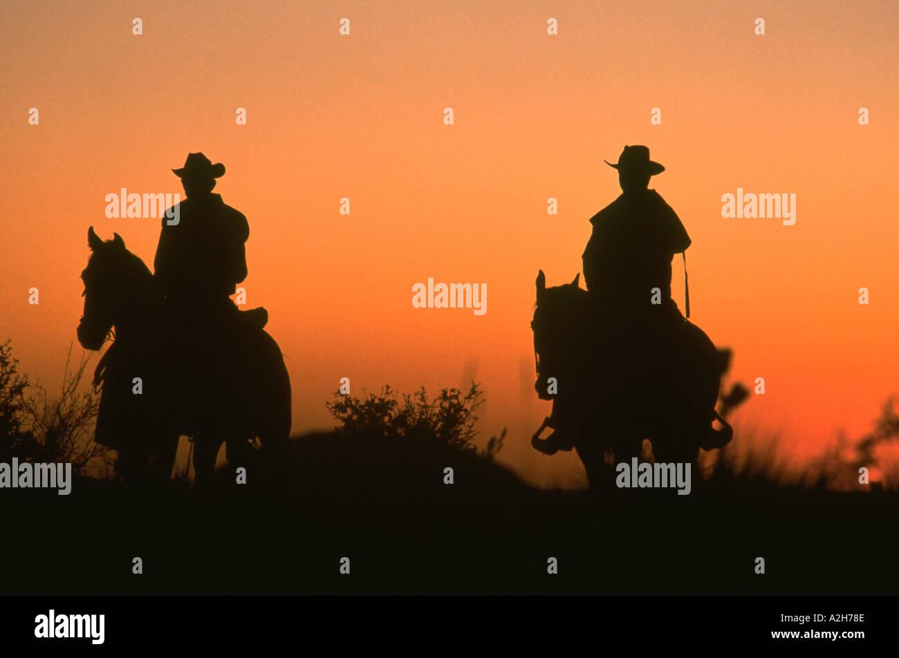 Cowboys at sunrise - Stock Image