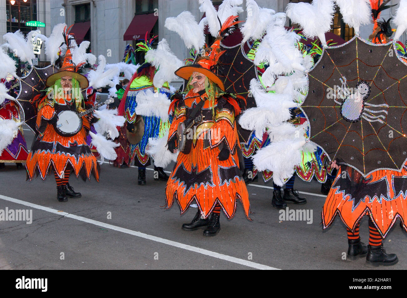 Musicians in costumes of fabulous personages,Mummers Parade, Philadelphia , Pennsylvania,USA - Stock Image