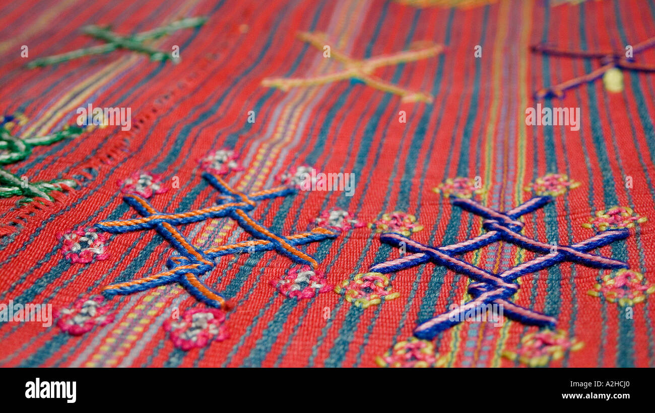 Detail of brocaded motif on hipstrap loom woven skirt fabric from Colotenango Guatemala Central America Stock Photo
