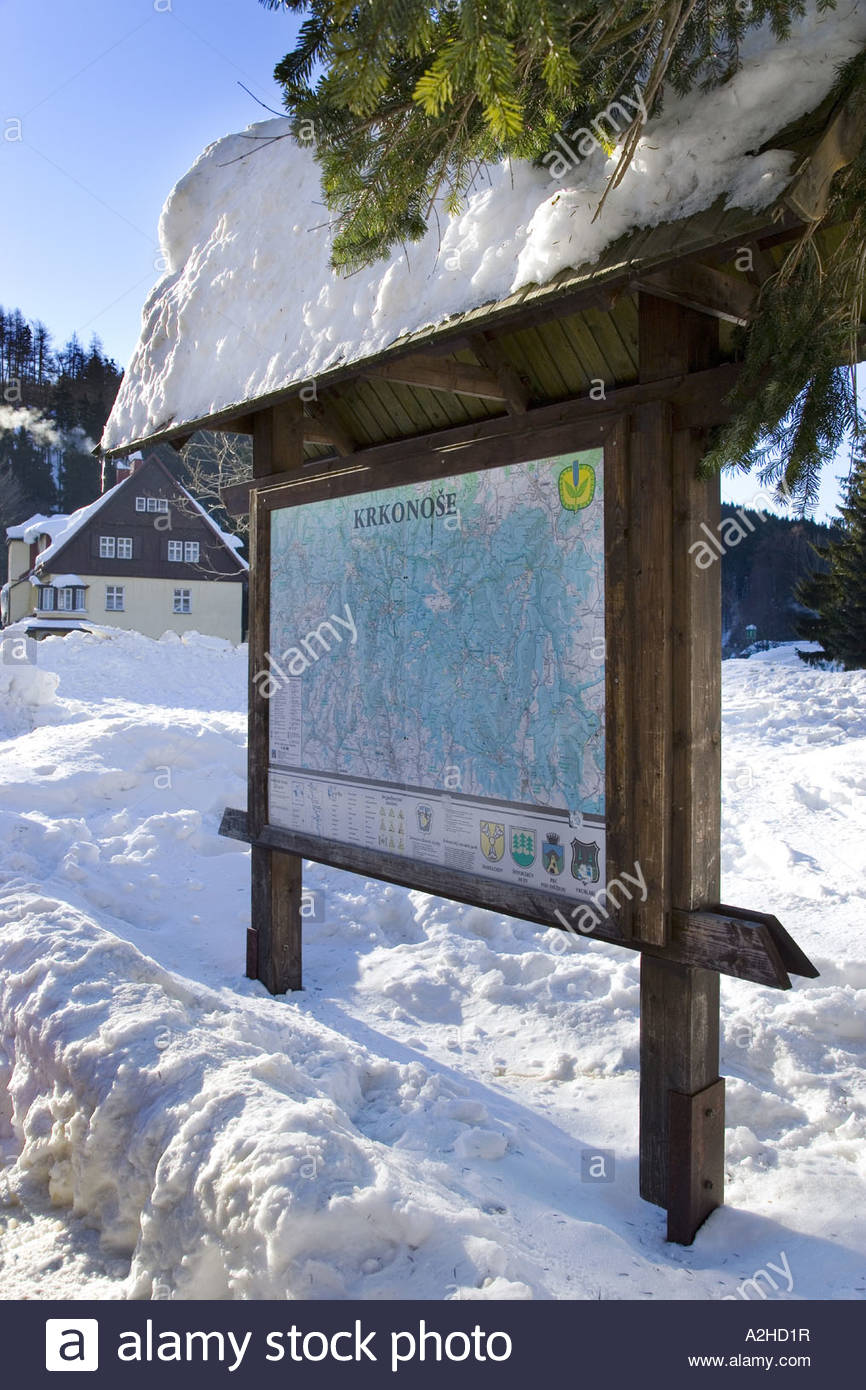 Spindleruv Mlyn Ski Centre Information Board with Map of Giant Mountains Giant Mountains CR - Stock Image