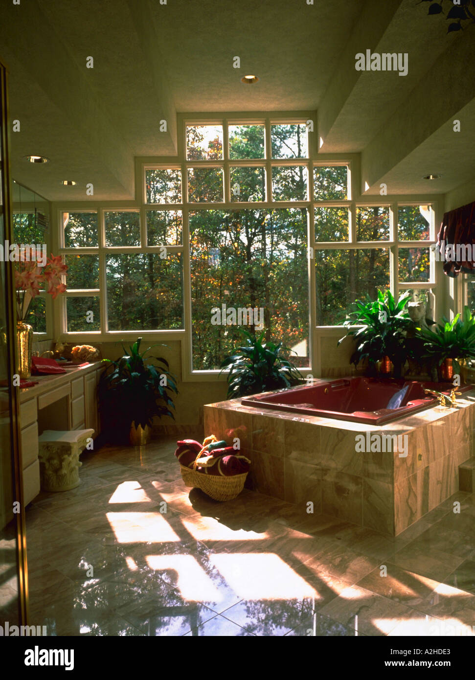 Interior of elegant bathroom with a Jacuzzi tub and large window ...