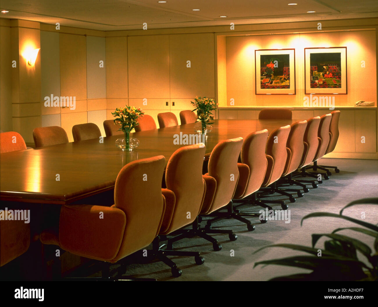 An Executive Meeting Room With A Large Wooden Conference Table And - Large wooden conference table
