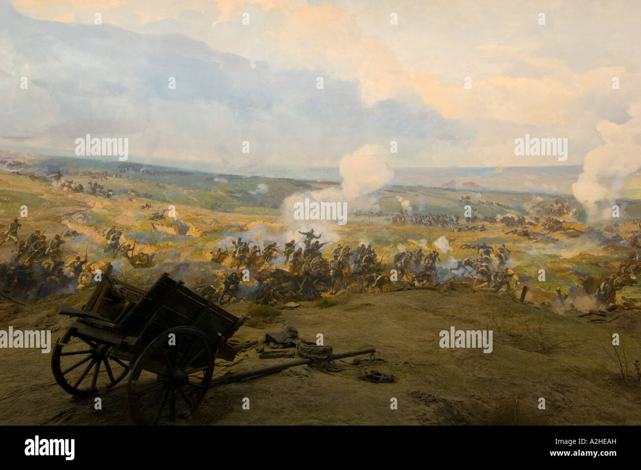 Europe Bulgaria Pleven; one of the paintings at Panorama depicting Turkish defeat by Russians in the Pleven siege - Stock Image