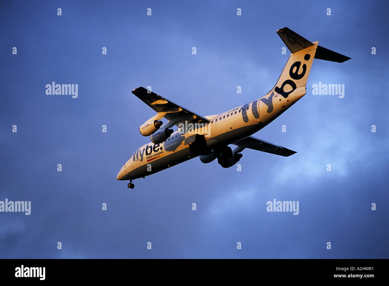 fly be BAe 146 300 aircraft approaching Birmingham International Airport, West Midlands, England, UK - Stock Image