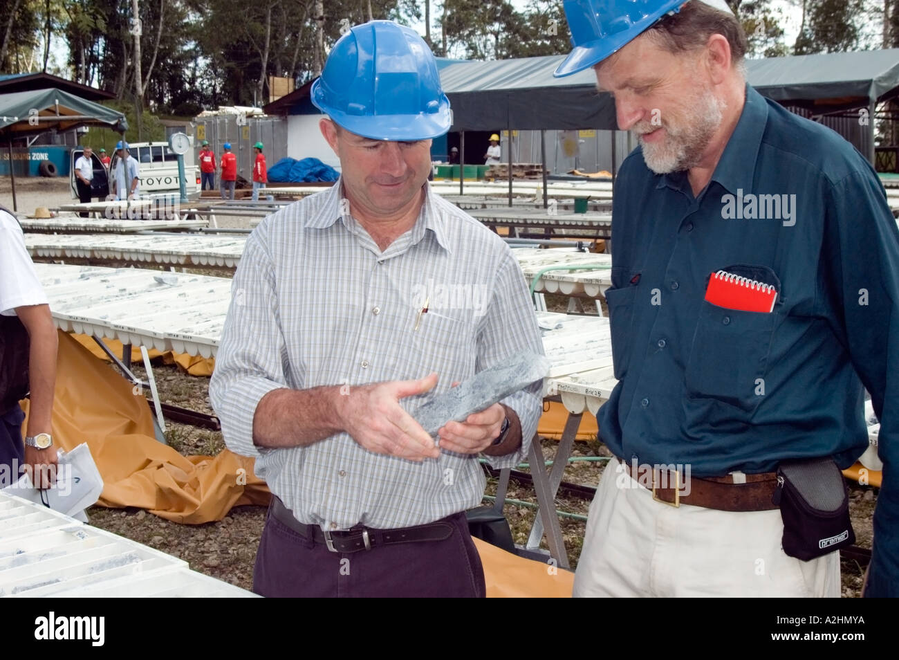 Australian mining co studies core samples from drilling world's largest copper mine, Tampakan, South Cotobato, Mindanao, Phils. - Stock Image