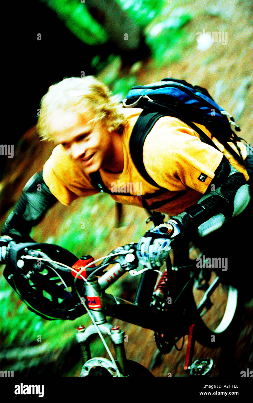 male age 20-25 riding a mountain bike through the woods. The Image shows movement and is in color. - Stock Image