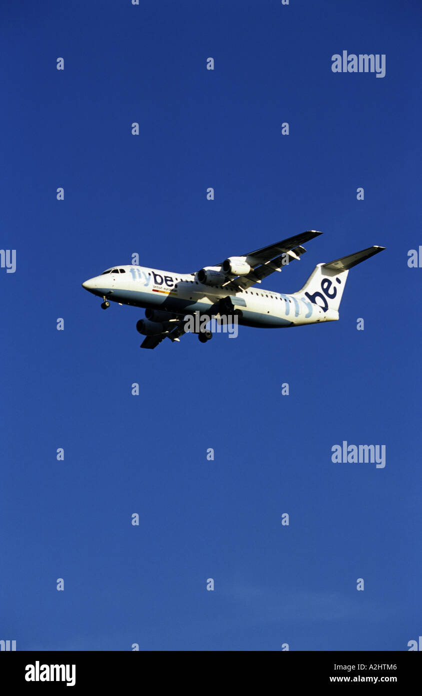 flybe BAe 146 300 aircraft approaching Birmingham International Airport, West Midlands, England, UK - Stock Image