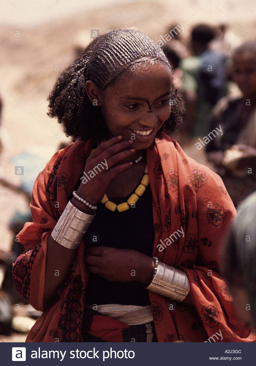 Stylish Oromo woman at local market in central highlands Welo provence - Stock Image