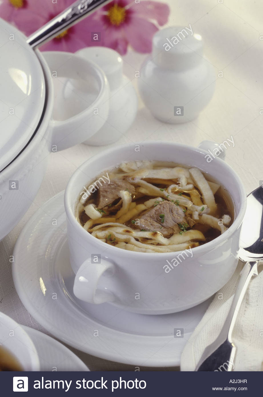 English Broth with Celestine Noodles - Stock Image