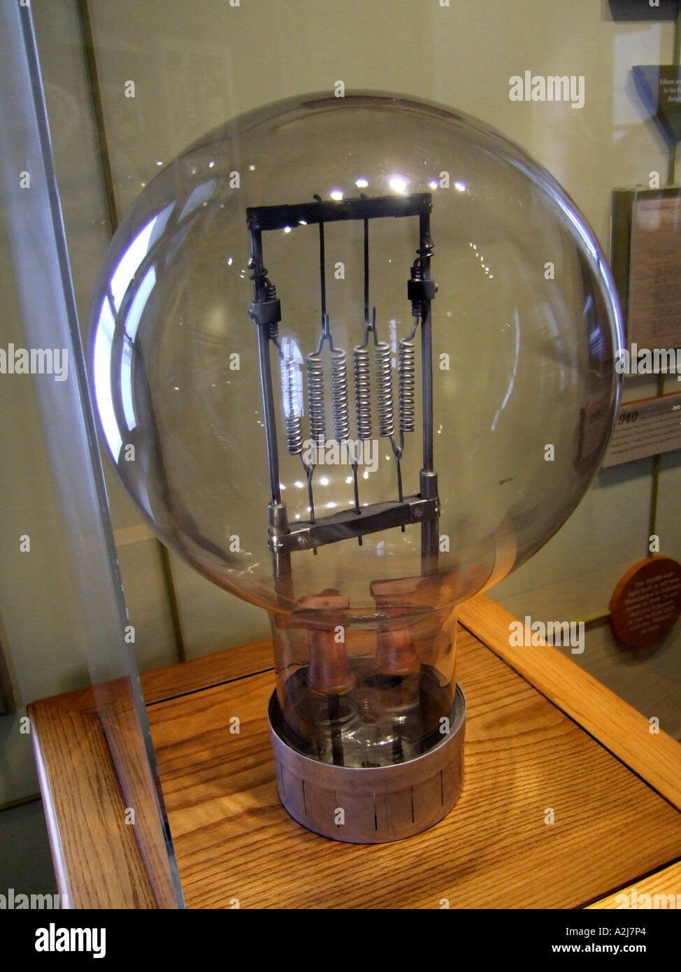 Historic Reproduction Of A Thomas Elva Edison Light Bulb On Display In His  Boyhood Town Museum